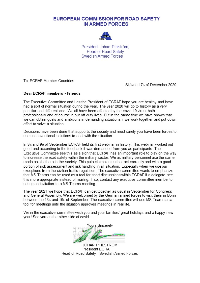Letter to ECRAF delegates Holiday letter 2021 FINAL
